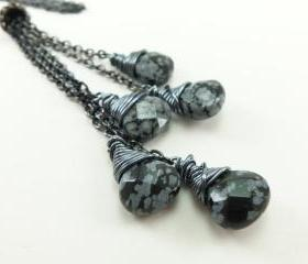 Long Necklace Lariat Dark Silver Jewelry Gun Metal Jewelry Obsidian Gemstone Necklace Monchromatic