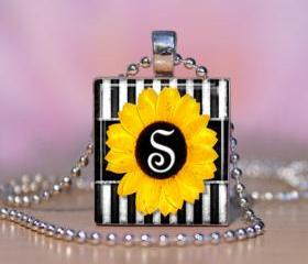 Sunflower Letters Personalized Scrabble Tile Pendant