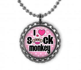Sock Monkey Love Bottle Cap Necklace