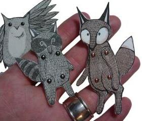 Articulated Animal Paper Dolls Woodland Creatures Owl Fox Raccoon