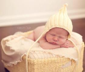 Sale -- Sunshine Yellow Ribbed Pixie Baby Hat