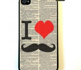 Iphone 4 Case I Love Mustache Dictionary iPhone 4 Case