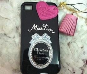 New Bling Bling Crystal Sparkle Black Miss Dior Rhinestones iPhone 4/4S Case