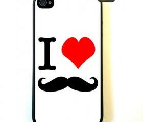 Iphone 4 Case I Love Mustache iPhone 4 Case