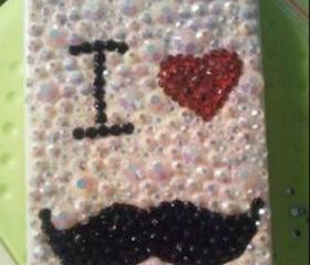 New Bling Cyrstal Sparkle I Love Beard Rhinestones iPhone 4/4s Case Cover