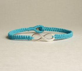 Blue Infinity - Simple Single Silver Infinity Sign/Eight woven with Turquoise Blue Wax Cord Bracelet / Wristband - Customized Bracelet