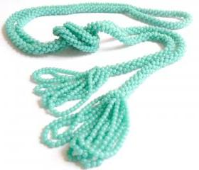 Vintage Rope Beaded Tassel Necklace Teal Blue