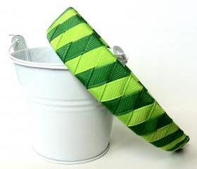 Green Woven Headband: one inch wide headband made from lypple and emerald ribbon