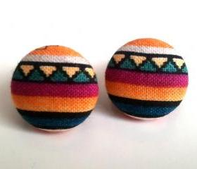 Tribal stripes small button earrings