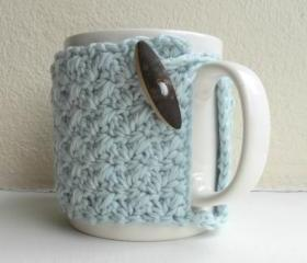 Crochet Mug Cozy Cup Cozy egg shell Blue Yarn wooden toggle