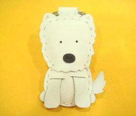 Amber the Westie leather charm ( White )