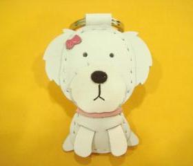 Moli the Maltese with ribbon bow Leather Charm ( White )