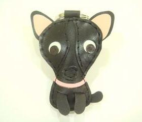 Andrea the Chihuahua leather keychain ( Black )