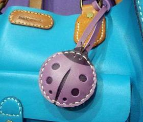 Penny the LadyBug leather charm with strap ( Purple )
