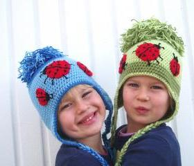 Childrens Ear Flap Hat Crochet Pattern PDF
