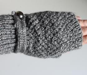 Handmade Knitted fingerless gloves --grey