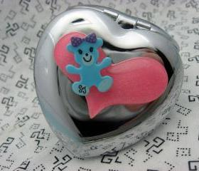Blue Teddy Bear and Pink Heart Compact Mirror