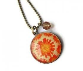 Antique Bronze Orange Flower Brown Crystal Glass Pendant Necklace Cell Phone Dust Plug