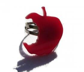 Back to School Jewelry,Red Apple Ring ,Lasercut Jewelry
