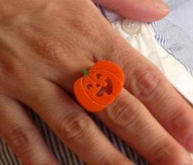 Halloween Jewelry, Pumpkin Ring,Lasercut Acrylic