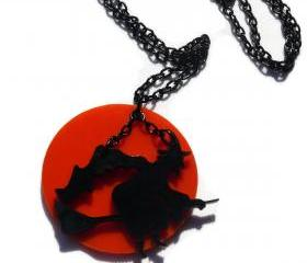 Halloween Jewelry,Flying Witch Necklace,Lasercut Acrylic