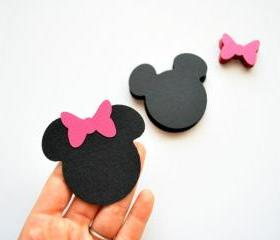 50 Minnie Mouse die cut ( 2.5 inches) in black with hot pink bow A259