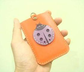 Ladybug Leather Cardholder ( Orange )