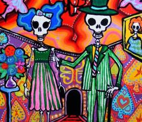 Day of the Dead Wedding Couple - mexican folk art print - Calavera Party