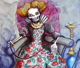 Hookah! Tattoo Flash meets day of the dead Calavera in a Twist on the Queen of Hearts - 8x10 fine art print