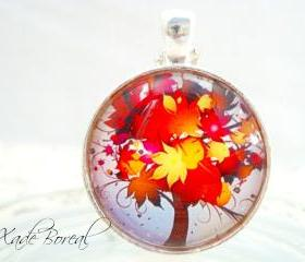 fall leaves tree pendant necklace
