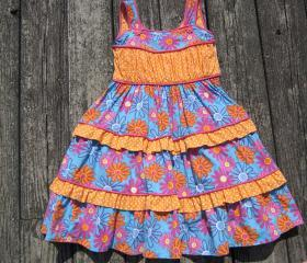 Girls summer dress with piping and ruffles Size 5
