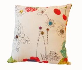 Handmade cushion with vintage buttons.