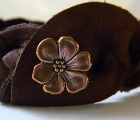 Hand Braided Soft Leather Cuff with Copper Flower Button