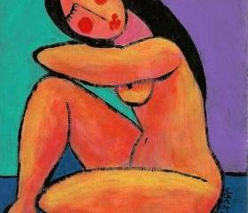 Hand Painted Ceramic Art Tile - Abstract Portrait Painting of Nude Woman