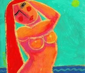 Hand Painted Ceramic Art Tile - Woman by the Sea Painting