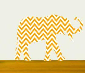 Nursery Decor Elephant Wall Decal Chevron Pattern