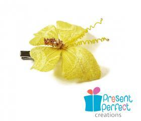 Butterfly hair clip, yellow butterfly, lace butterfly