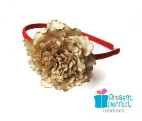 Golden peony headband, girls fabric flower headband