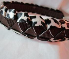 Braided headband in leopard print and brown