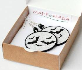 Halloween jewelry black bats Earrings Round Dangle size 4cm , gift for her under 25