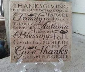 Thanksgiving ceramic tile