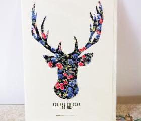 Hand made fabric reindeer christmas card. FREE P&P