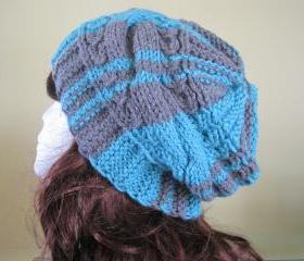 Knit Hat - Aqua/True Grey (H13B)