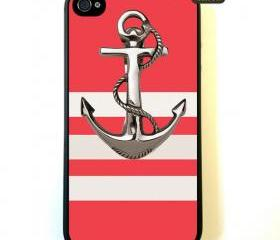 Iphone 4 Case Anchor On Stripes Pattern iphone 4 Case