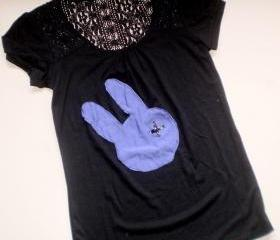 Black lace purple bunny t shirt for women