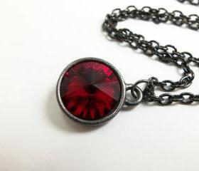 Blood Red Necklace Ruby Red Jewelry Deep Red Crystal Necklace July Birthstone Dark Gun Metal Jewelry Rivoli