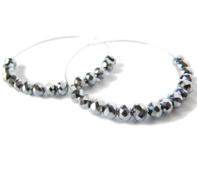Silver Hoop earrings - Gunmetal Crystal Beaded Earrings - Dance with me