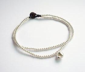 For Anklet - Silver Line - Double Strands of Silver Plated Bead and Bell with Black Wax Cord Anklet - Gift under 10