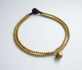 For Anklet - Golden Line - Double Strands of Brass Beads and Bell with Black Wax Cord Anklet - Gift under 10