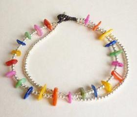 For Anklet - Rainbow and Silver - Double Strands of Colorful Dyed Mother of Pearl Chip Beads and Silver Plated Beads with Wax Cord Anklet